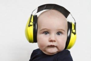 image of baby in headphones