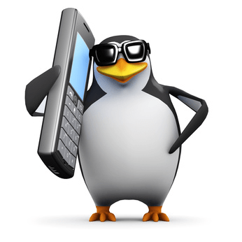 image of a penguin using a mobile phone
