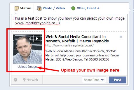 Facebook choosing your own image in posts screenshot