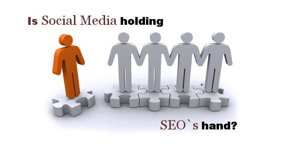image of characters holding each others hand with the words SEO and Social Media