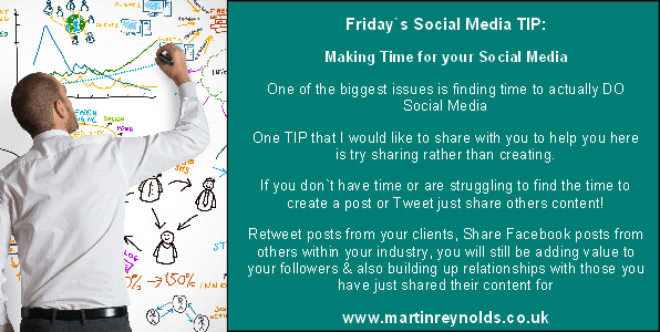 image of a social media tip about making time
