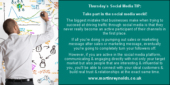 image of a social media tip about participating and engaging