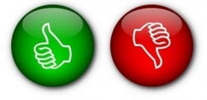 image of a green thumbs up and a red thumbs down which relates to the benefits of using a Facebook business page
