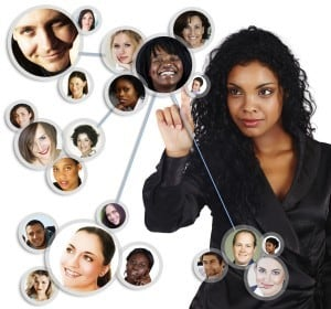 image of a woman connecting with her Social Media contacts