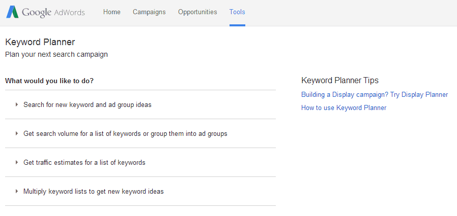image of Google Adwords Keyword Planner