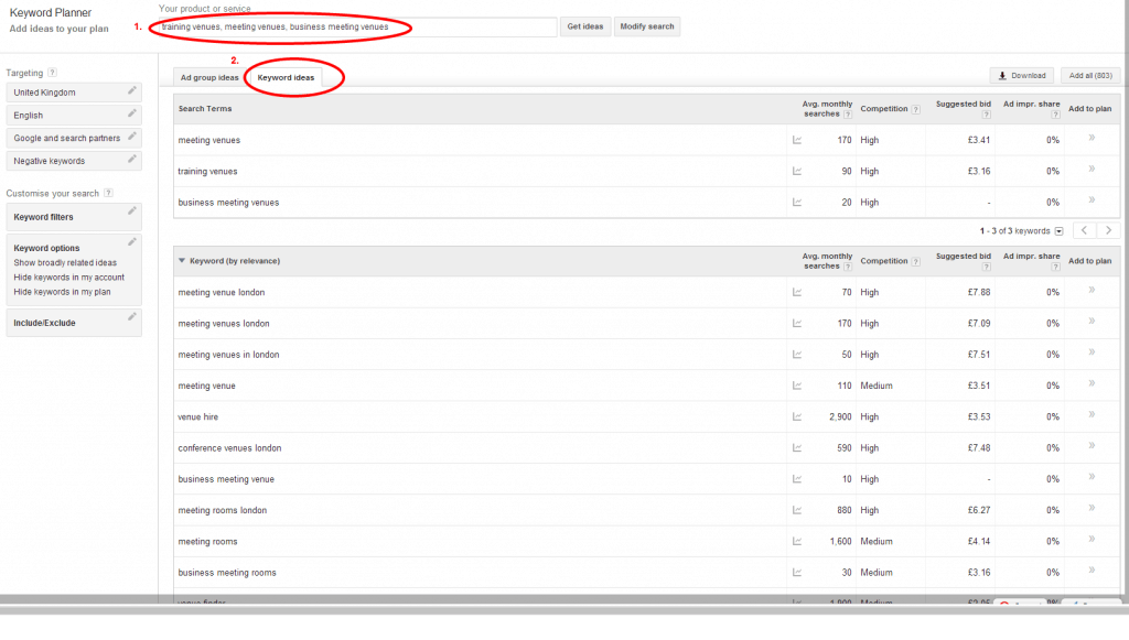 screenshot of the Google Keyword Planner