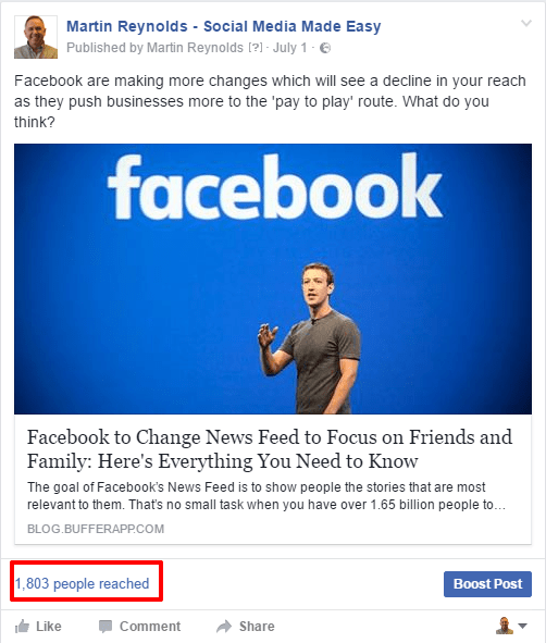 image of a facebook post