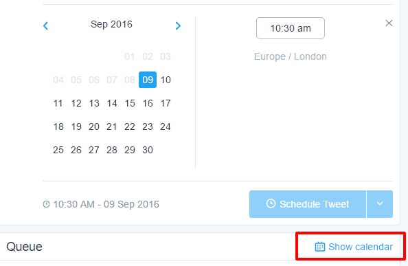 calendar on twitter dashboard