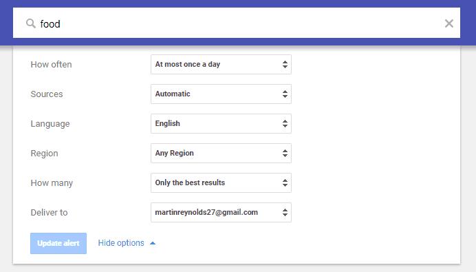 Google Alerts creating an alert