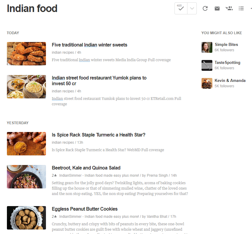 indian food in feedly